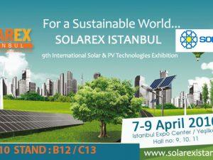 Solarex 9.Uluslararası Güneş Enerjisi ve Teknoloji Fuarı, İstanbul – Türkiye (07-09 Nisan 2016)